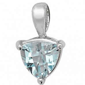 Children's 9ct White Gold Trillion Shape Blue Topaz Pendant On A Prince of Wales Necklace