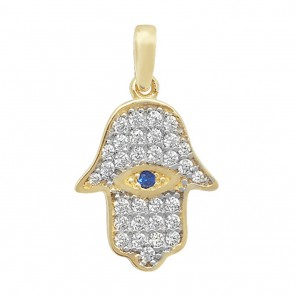 9ct Gold Cubic Zirconia Evil Eye Hamsa Pendant On A Belcher Necklace