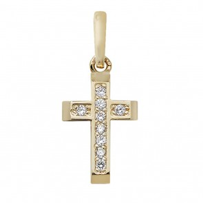 9ct Gold Small Cubic Zirconia Set Cross Pendant On A Belcher Necklace