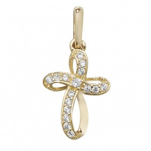 9ct Gold Small Twisted Cubic Zirconia Fancy Set Cross Pendant On A Belcher Necklace
