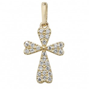9ct Gold Small Cubic Zirconia Encrusted Cross Pendant On A Belcher Necklace