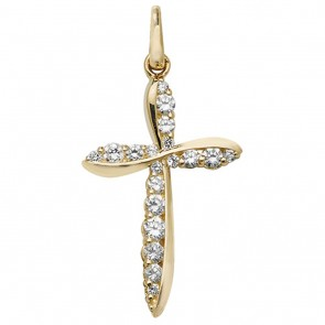 9ct Gold Half and Half Cubic Zirconia Set Cross Pendant On A Belcher Necklace
