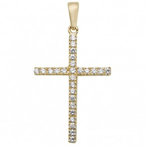9ct Gold Large Cubic Zirconia Set Cross Pendant On A Belcher Necklace