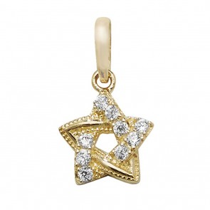 9ct Gold Small Fancy Cubic Zirconia Star Of David Pendant On A Belcher Necklace