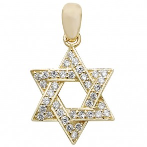 Children's 9ct Gold Medium Cubic Zirconia Star Of David Pendant On A Prince of Wales Necklace