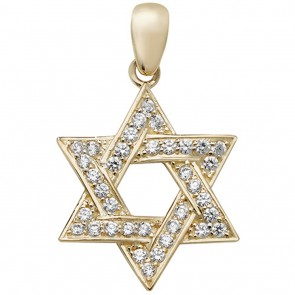 Children's 9ct Gold Large Cubic Zirconia Star Of David Pendant On A Prince of Wales Necklace