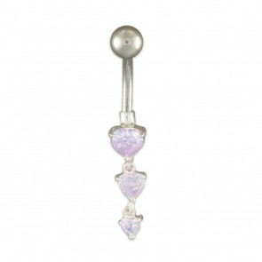 Sterling Silver Lavender Cubic Zirconia Hearts Belly Bar