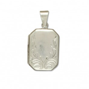Children's Sterling Silver Embossed Fancy Oblong Locket On A Curb Necklace