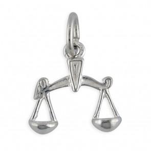 Sterling Silver Zodiac Sign Libra Pendant On A Snake Necklace