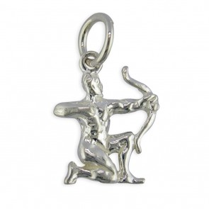 Sterling Silver Zodiac Sign Sagittarius Pendant On A Snake Necklace