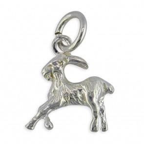 Sterling Silver Zodiac Sign Capricorn Pendant On A Snake Necklace