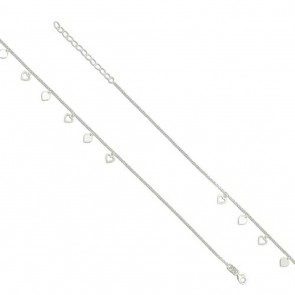 Sterling Silver Multiple Heart Anklet