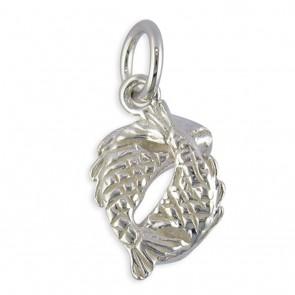 Sterling Silver Zodiac Sign Pisces Pendant On A Snake Necklace