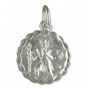 Sterling Silver Large Round Double Sided St Christopher Pendant