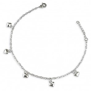 Sterling Silver Oval Trace With Hearts Anklet