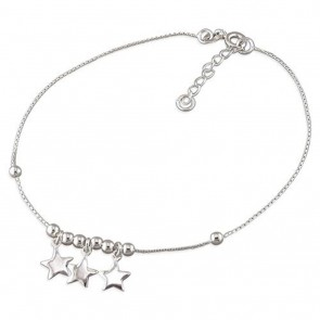 Sterling Silver Stars And Beads Anklet