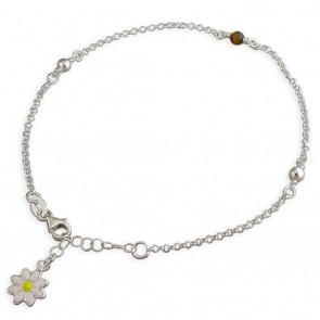 Sterling Silver Tigers Eye And Plain Beads With Enamel Daisy Anklet