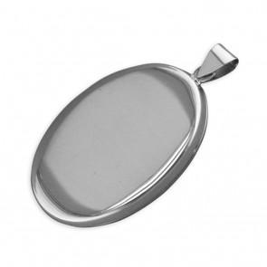 Sterling Silver Large Flat Plain Oval Locket On A Snake Necklace