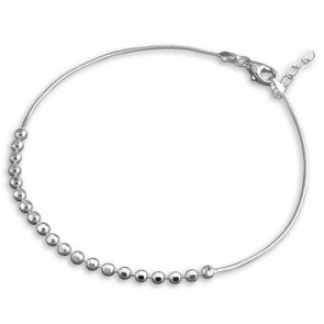 Sterling Silver Snake With Facetted Beads Anklet