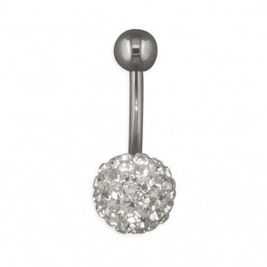 Sterling Silver White Crystal Golfball Belly Bar