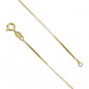 18K Gold Plated 16 Inch Medium Box Chain