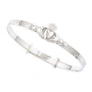 Childrens Sterling Silver Claddagh Expandable Bangle