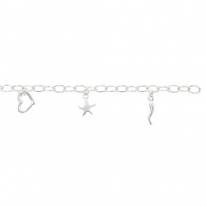 Childrens Sterling Silver Heart & Star Bracelet