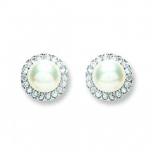 Sterling Silver 11MM Pearl & Cubic Zirconia Stud Earrings