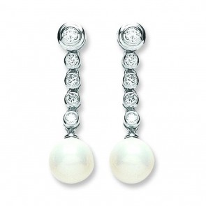 Sterling Silver 10MM Pearl & Cubic Zirconia Drop Earrings