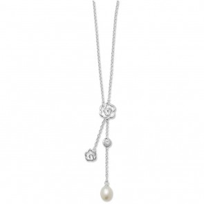 Sterling Silver Pearl & Cubic Zirconia Flower Necklet