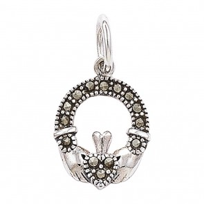 Sterling Silver Marcasite Claddagh Pendant