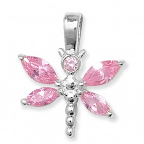 Children's Sterling Silver Pink Cubic Zirconia Butterfly Pendant On A Curb Necklace
