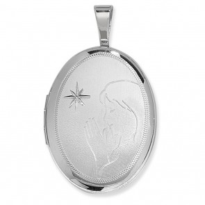 Children's Sterling Silver Saying A Prayer Oval Locket On A Curb Necklace