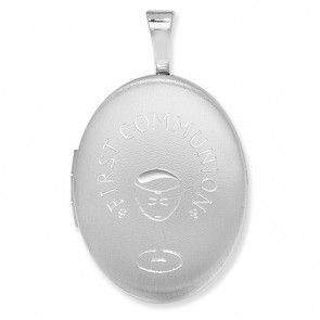 Children's Sterling Silver 1st Communion Oval Locket On A Curb Necklace