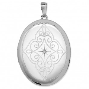 Children's Sterling Silver Diamond Set Engraved Oval Locket On A Curb Necklace