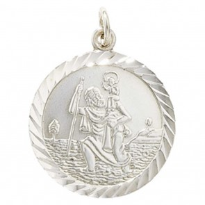 Sterling Silver Round Double Sided St Christopher Pendant