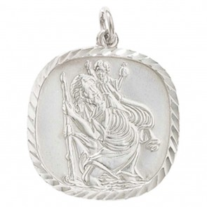 Children's Sterling Silver St Christopher Pendant On A Curb Necklace