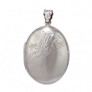 Sterling Silver Half Engraved Oval Locket On A Snake Necklace