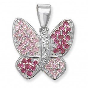 Children's Sterling Silver Pink & White Cubic Zirconia Butterfly Pendant On A Curb Necklace