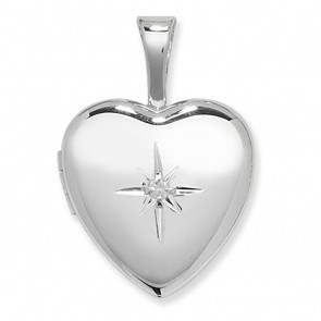 Children's Sterling Silver Diamond Set Heart Locket On A Curb Necklace