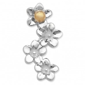 Children's Sterling Silver & Gold Plated Daisy Flower Pendant On A Curb Necklace