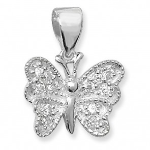 Children's Sterling Silver Fancy Cubic Zirconia Butterfly Pendant On A Curb Necklace