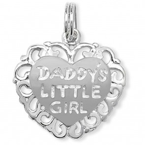 Children's Sterling Silver Daddys Little Girl Heart Pendant On A Curb Necklace