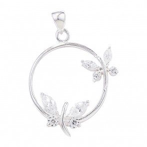 Children's Sterling Silver Cubic Zirconia Circle With Butterfly Pendant On A Curb Necklace