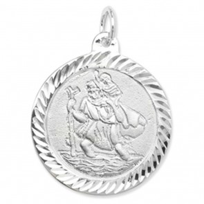 Sterling Silver Round St Christopher Pendant