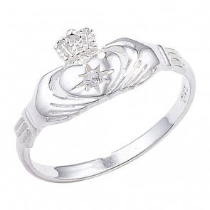 Sterling Silver Claddagh Ring Set with Small Cubic Zirconia