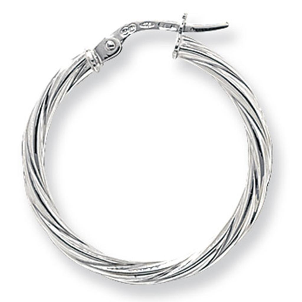 9ct White Gold Large Twist Hoop Earrings im5LyWR